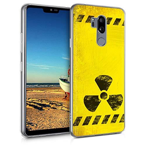 kwmobile Cover Compatibile con LG G7 ThinQ/Fit/One - Back Case Custodia in Silicone TPU Trasparente Caution Nero/Giallo