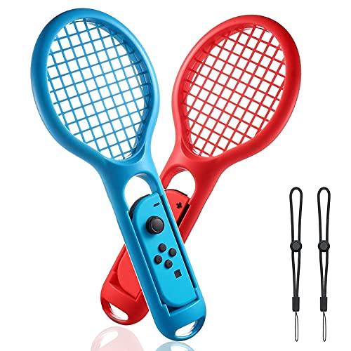 LYCEBELL Tennis schläger für Nintendo Switch, Kompatibel mit Mario Tennis Aces Spiele, Switch Joy Con Zubehör, 2 Stück(Blau & Rot)