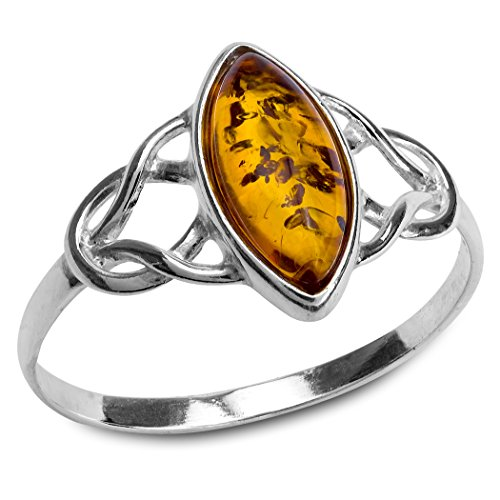 Amber Sterling Silver Celtic Trinity Knot Ring