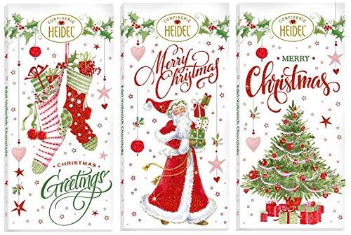 Heidel weihnachtliche Schokoladentafeln | weiße Weihnacht | White Christmas | schokoladige Weihnachtsgrüße | 3x30g