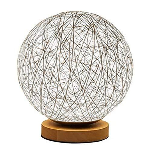 NaiCasy Lampada da Comodino a LED 3D in Rattan, con Luna e Luna, in Rattan Massiccio, Rotonda, con Paralume Bianco, ripresa e intrattenimento