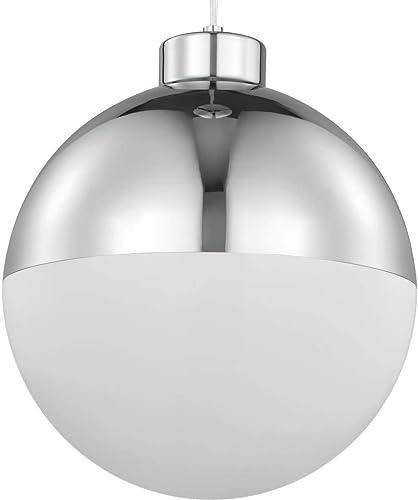 Globe LED Collection 1-Light Opal Glass Mid-Century Modern Pendant Light Polished Chrome