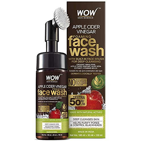 WOW Apple Cider Vinegar Exfoliating Face Wash W Brush - Soft, Silicones Bristles - Foaming Cleanser For All Skin Type - Hydrate For Smooth Skin, Helps Remove Blackheads & Reduce Acne Breakout - 100ml