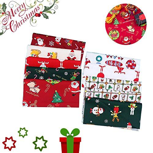 Tessuto di Cotone Natale 10 Pezzi Tessuto a Tema Natalizio Tessuto Stampato,per Cucire Trapunta Albero di Natale Assortito Pretagliato Babbo Natale per l'Artigianato Fai Da Te di Natale (25 x 25 cm)