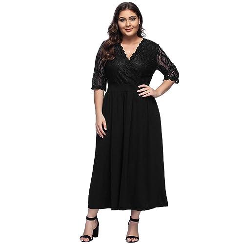 7556882b43 Women s Plus Size V-Neckline Floral Lace Top Dress Cocktail Party Swing  Dress