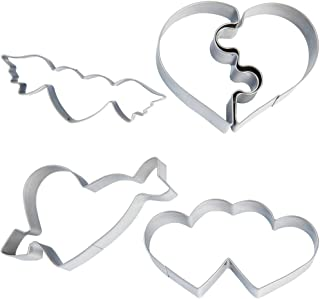 STARUBY Cookie Cutters 4-Pack Heart-shaped Cookie Cutter Set Stainless Steel Metal Cookie Cutters for Party, Fun DIY Biscuit, Cookies