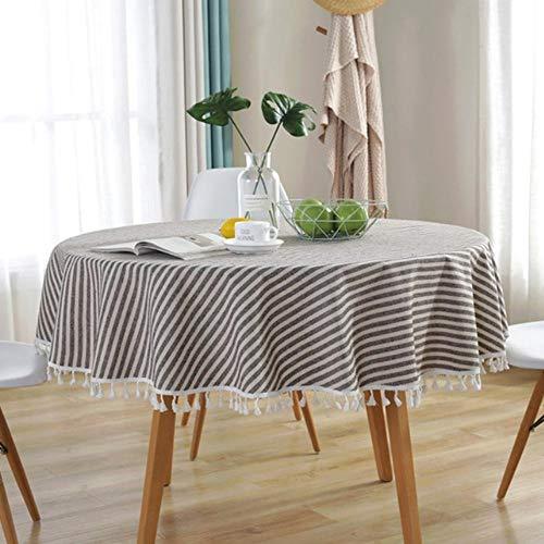 Gestreepte Stofdichte Kwast Home Decoratieve Tafelkleed Katoen Linnen Voor Keuken Eettafel Ronde Woonkamer Tafelkleed 100Cm