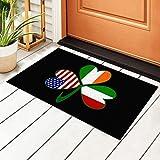 Wolfdinner Italian Irish American Shamrock Non Slip Absorbent Resist Dirt Super Absorbent Door Mat PVC Doormat 40 X 60 cm