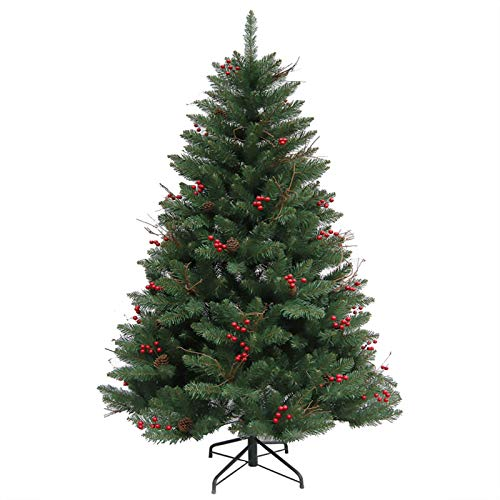 KAUTO 5FT Artificial Christmas Tree,Luxurious Premium Spruce Hinged Christmas W Pine Cones and Berries,Metal Stand for Festive Holiday Decor