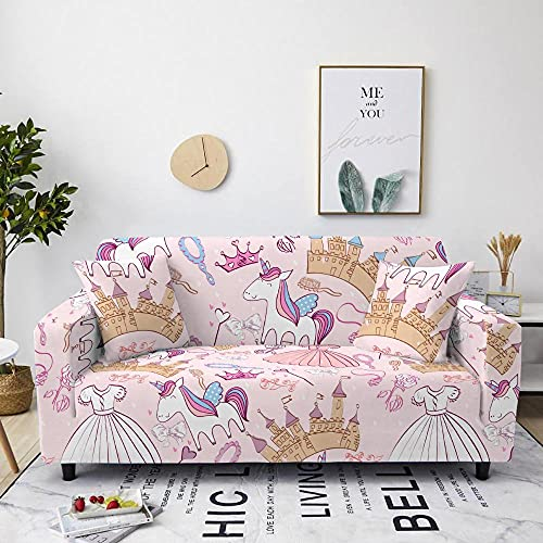 AHKGGM Funda de sofá Estampada Unicornio Rosa y Blanco 4 plazas: 235-300cm