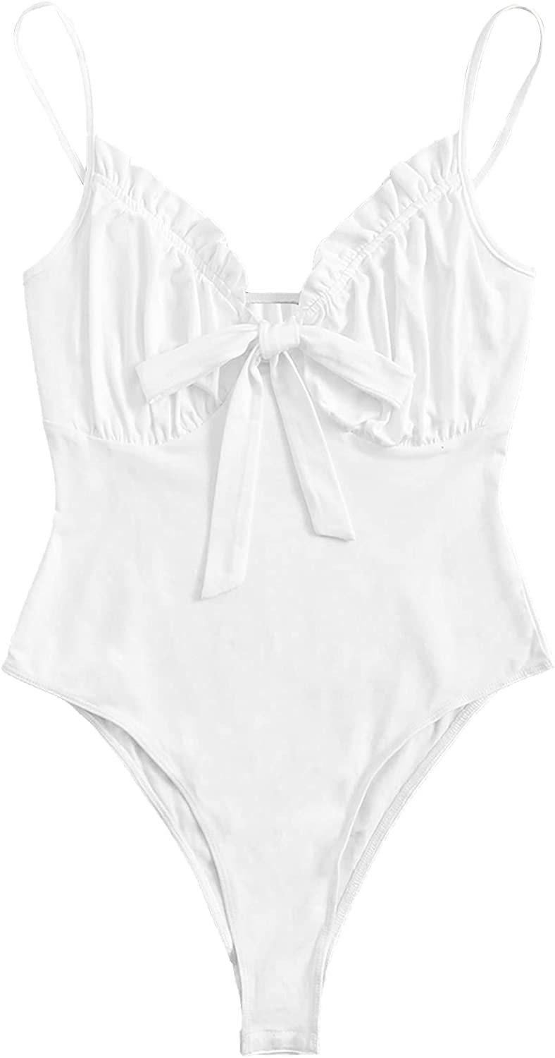 Romwe Women's Plus Size Sleeveless Ruched Bust Knot Front Cami Bodysuit Tops