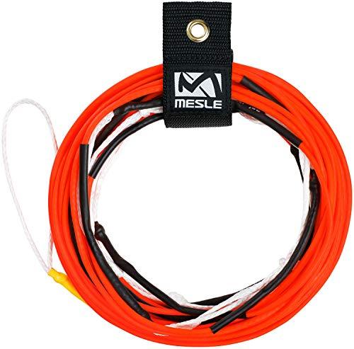 MESLE Wakeboard Haupt-Leine Ten 80', Non-Stretch Silikon Rope, Länge 24,4 m - 15,2 m, 7 Sektionen, Dyneema-Silikon Wettkampf-Seil, schwimmend, inkl. Rope Keeper, Farbe:orange