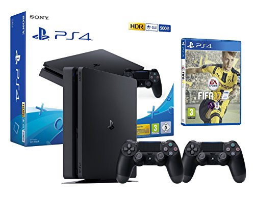 PS4 Slim Console Playstation 4 Noir + FIFA 17 + 2 Manettes Dualshock PS4 V2