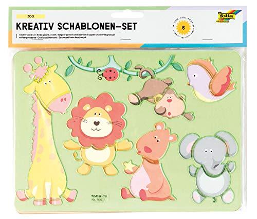 folia 40611 - Kreativ - Schablonen Zoo, 6 Schabloneninklusive Ausmalvorlagen, zum Malen von verschiedenen Tieren, einfache Anwendung mit Buntstiften, Filzstiften und Markern