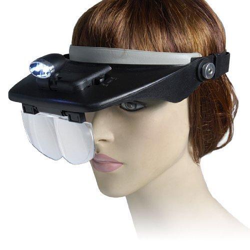 Outletdelocio. Gafas-lupa con luz led y estuche con 4 lentes intercambiables. Hasta 3,5 aumentos