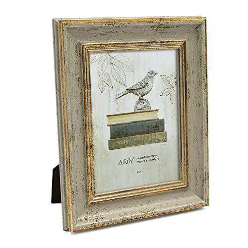 Afuly Marco de Fotos Antiguo 7x5'(18x13 cm) Oro y Verde Vintage Para Escritorio y Pared