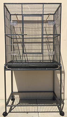Large Wrought Iron Flight Breeding Canary Parakeet Cockatiel Lovebird Finch Bird Cage with Removable Stand, 32-Inch by 19-Inch by 64-Inch (32' L x 19' W x 64' H, Black Vein)
