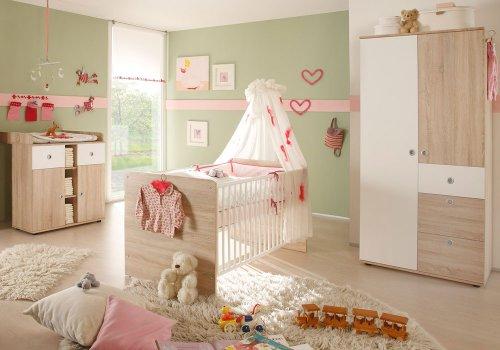 Babyzimmer-Set 3-teilig WIKI Eiche Sonoma / weiß