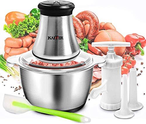 Picadora eléctrica de carne, 2 l, picadora de cocina 350 W, batidoras y robots multifunción con 4 cuchillas de acero inoxidable, mini robot culinario con kit de herramientas de llenado de salchichas