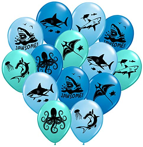 Gypsy Jades Shark Balloons - Great For Shark Themed Birthday Parties, Shark Week Parties or Under-The-Sea gatherings - Package of 36 - Big 12 Latex Balloons!