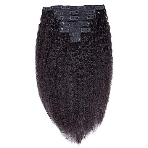Lot de 7 extensions de cheveux crépus lisses à clipser pour femme noire - Cheveux brésiliens vierges de qualité supérieure 8A - 35,6 cm - 100 g - Noir naturel