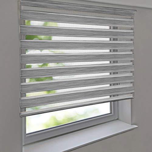 Doppelrollo PREMIUM 160 x 140 cm Leinen-Struktur grau - Duorollo Vario Seitenzug zum Anschrauben freihängend für Wandmontage und Deckenmontage - inkl. Metallträger