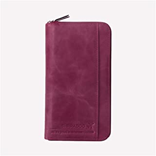 YXWL Passport Holder,Multi-Function Passport Bag, Passport Holder, Card Package, Leather Ticket Storage Case for Men and Women (Color : Purple)