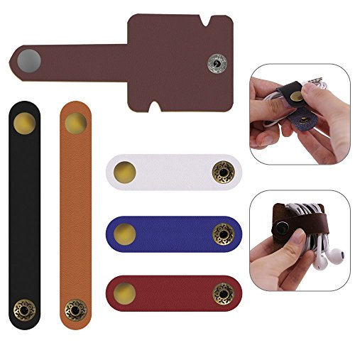 SENHAI - 6 organizadores de piel para cables y auriculares, soporte para llaveros, color al azar