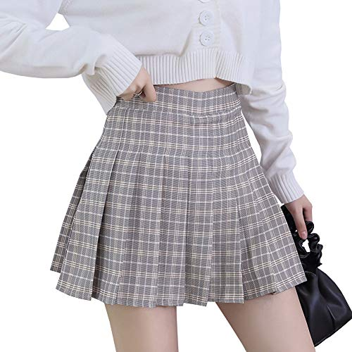 LPATTERN Mujeres/Niñas Falda Dulce de Cuadros Falda Plisada Coreana Básica Falda Escolar Tartán Falda Plisada de la Cintura Alta Falda De Una Línea Falda Mini Corta Elástica,Gris,L
