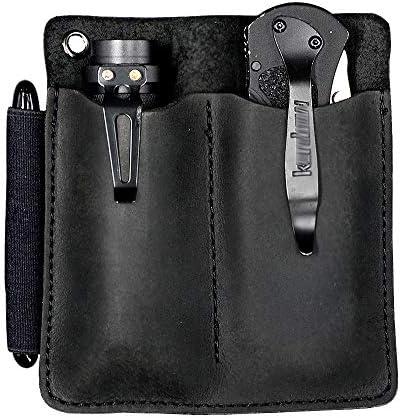 XL EDC Leather Sheath Pocket Organizer Designed For 4 5 Knife Regular Folded Knives Fit Flashlight product image