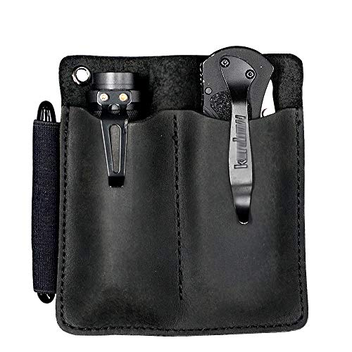 XL EDC Leather Sheath Pocket Organizer, Designed For 4.5' Knife Regular Folded Knives, Fit Flashlight, Pocket Slip, Pocket Pouch, EDC Carrier, with Pen Loop, Premium Leather. Black.