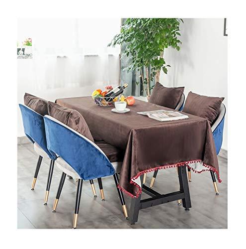 Beydodo Mantel Franela Café Oscuro Mantel Mesa Rectangular Color Sólido con Borlas Manteles de Mesa 120x160CM