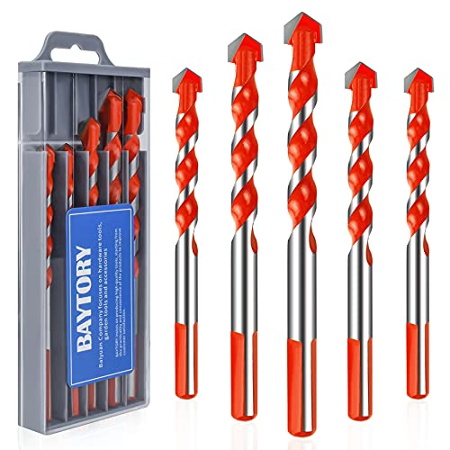 BAYTORY Professional Masonry Drill Bit Set for Brick/Concrete/Glass/Plastic/Cement/Wood/Tile/etc, Multifunctional Tungsten Carbide Tip Drill Bits (5-Piece   6/6/8/10/12mm, Open-Blade Head)