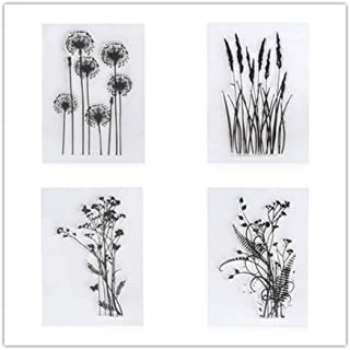 4PCS Dandelion Clear Stamps Lavender Flowers Leaves Rubber Clear Stamp/Seal Scrapbook/Photo DIY Album Decorative Card Making