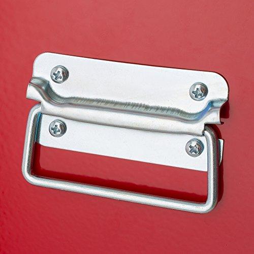 Arebos Werkstattwagen 9 Fächer rot (✓ zentral abschließbar, ✓ Abnehmbarer Werkzeugkasten, ✓ Massives Metall) - 8