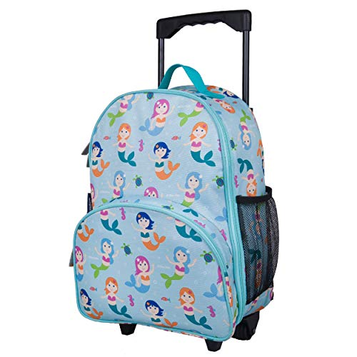 Wildkin Kids Rolling Luggage for Boys and Girls, Carry on Luggage Size is Perfect for School and Overnight Travel, Measures 16 x 12 x 6 Inches, BPA-free, Olive Kids (Mermaids)