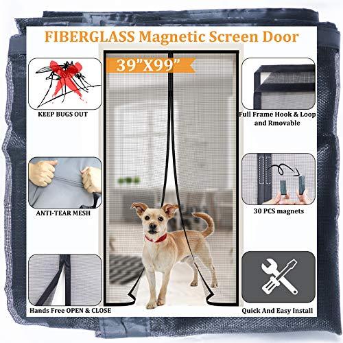 Dysome Magnetic Screen Door 39'x99',Retractable Tall Screen Door,Full Frame Seal,Strongest Magnets Build-in,Durable Fiberglass Mesh Curtain Front Door Mesh Fits Door Size up to 36'x98',Black