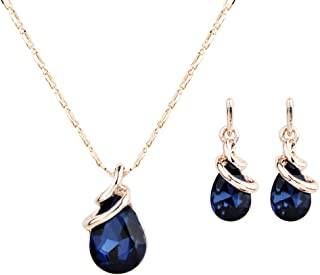 Rose Gold Teardrop Infinity Pendant Necklace Dangle Earring Bridal Pearl Jewelry Sets