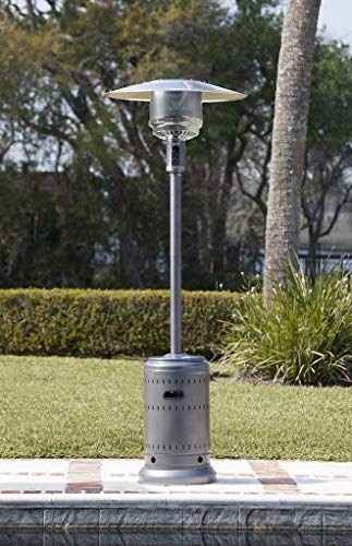AmazonBasics Commercial, Propane 46,000 BTU, Outdoor Patio Heater with Wheels, Slate Grey