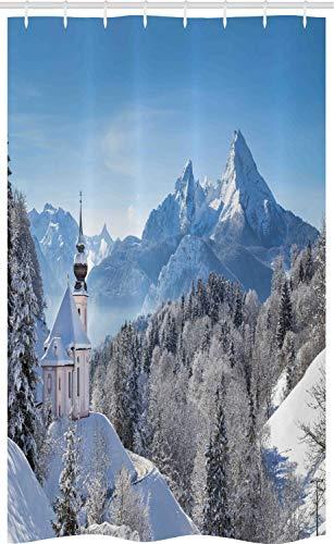 ABAKUHAUS Winter Douchegordijn, Bavaran Alpen Duitsland, voor Douchecabine Stoffen Badkamer Decoratie Set met Ophangringen, 120 x 180 cm, Blauw Wit