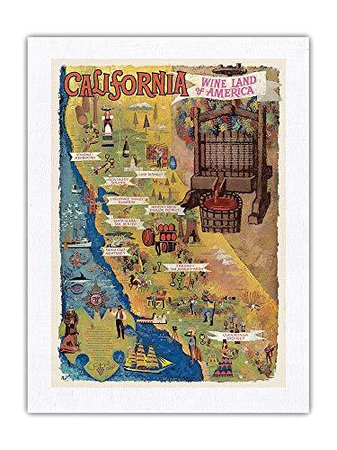Pacifica Island Art California - Vino Tierra de América - Mapa de Amado Gonzalez c.1965 - Impresión de Arte Seda Pura Tela 61x81cm
