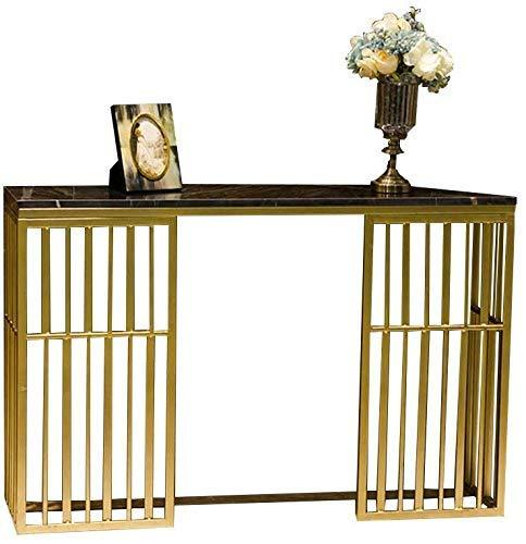 Inicio Accesorios Mesa Sofá dorado Mesa de consola Mesa de entrada de mármol Mesa de pasillo Mesa de consola de TV con tapa de imitación de mármol y marco de metal dorado para la entrada de la sala
