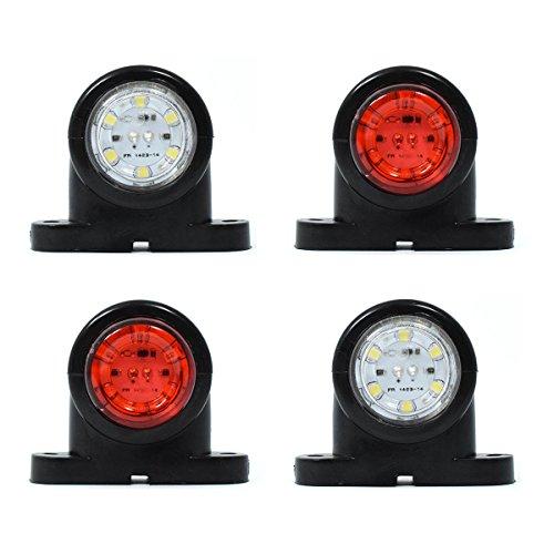 4x 6 LED LKW Begrenzungsleuchten 12/24V Positionsleuchten Seitenmarkierungsleuchten Anhänger Rot Weiß
