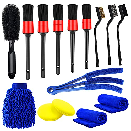 Yumzeco 15pcs Cepillos Limpieza Coche con cepillos para detalles, cepillos de alambre, Plumero Limpiador, cepillo para neumáticos, guante de lavado, almohadilla de limpieza de espuma, toallas