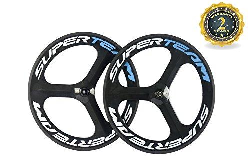 Superteam 70mm Carbon Fiber Tri Spoke Wheelset Road Bike 3 Spokes Wheel Front&Rear