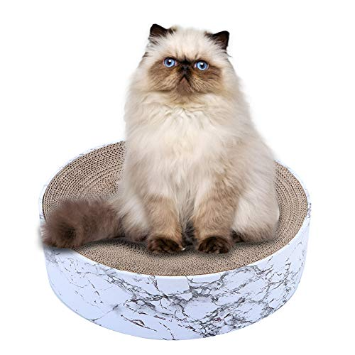 Pssopp Rascador de gatos de papel corrugado redondo rascador de cartón reciclable resistente a los arañazos sofá cama para gatos