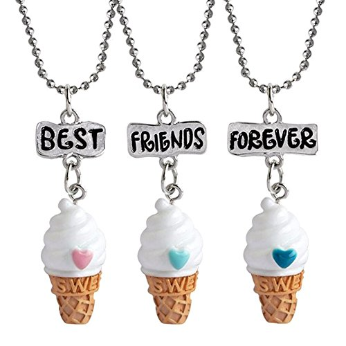3 Friendship Necklace Ice Cream Necklace Set for Best Friends for Boys Girls Kids BFF Necklace