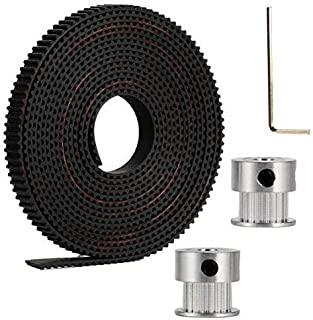 Xsentuals 2 Meter GT2 6 mm Open Timing Belt with 2 Pieces 20 Teeth Pulley 5 mm Bore and Allen Key