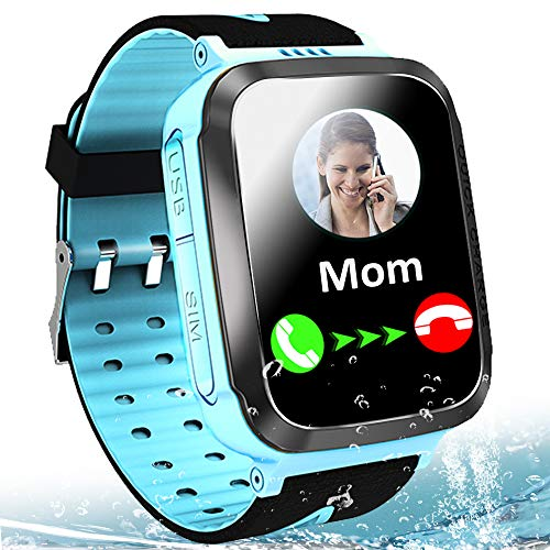 """Kids Smart Watch Waterproof LBS Tracker Phone Watches for Boys Girls Age 4-12 with SOS Calling Camera Puzzle Games Alarm Clock LED Flashlight 1.44"""" Touch Screen Smartwatch Birthday Gift (Black & Blue)"""