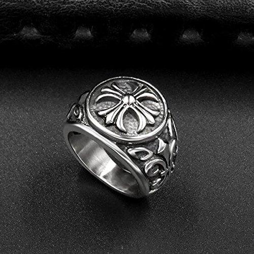 『ZAKAKA 指輪 メンズ リング ファッション アクセサリー (銀色, 24)』の3枚目の画像